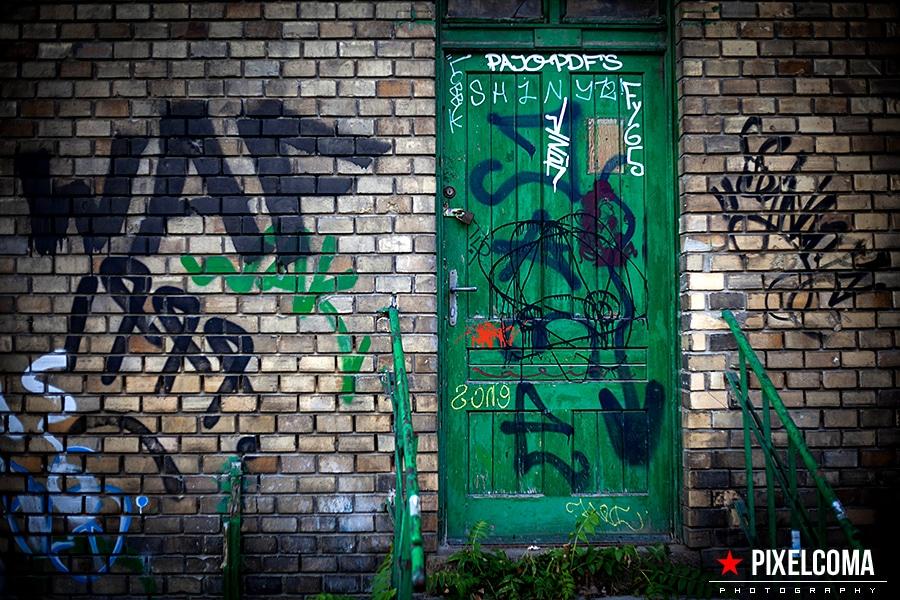 tür, grafiti, tag, grün